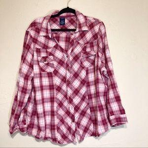 3x Basic Editions Cowgirl Long Sleeved Plaid Shirt